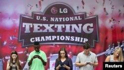 星期三在在紐約市時報廣場舉行的一年一度全國發短訊大賽