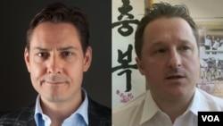 加拿大公民康明凯(Michael Kovrig)(左)和迈克尔·斯帕弗(Michael Spavor)(右)被中国以涉嫌危害中国国家安全的指称分别关押。