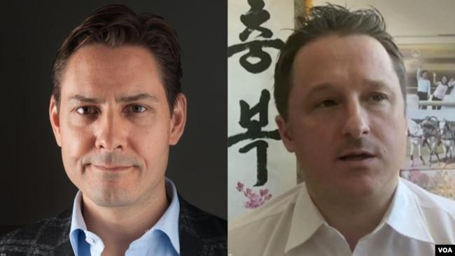 加拿大前外交官康明凯(左)和商人斯帕弗被中国当局拘捕
