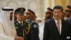 အဘူဒါဘုိင္ အိမ္ေရွ႕မင္းသား Sheikh Mohamed bin Zayed Al Nahyan နဲ႔ တ႐ုတ္သမၼတ Xi Jingping