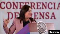 La secretaria de Energía de México, Rocío Nahle, destaca intervención del presidente de EE.UU., Donald Trump, en favor de México para acuerdo petrolero.