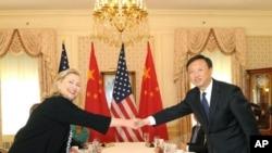 国国务卿希拉里克林顿与中国外长杨洁篪