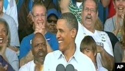 Rais Barack Obama akitoa hotuba huko katika jimbo la Wisconsin
