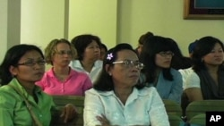 Cambodian-Americans gathered at Middlesex Community College, in Lowell, Massachusetts, to talk about Khmer Rouge issues in August 2010.