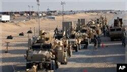 2011年12月18號最後一批撤出伊拉克的美國軍人抵達科威特