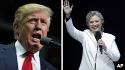 This combination of photos shows Democratic presidential candidate Hillary Clinton speaks at the Mann Center for the Performing Arts in Philadelphia, Nov. 5, 2016 and Republican presidential candidate Donald Trump speaks during a campaign rally in Hershey