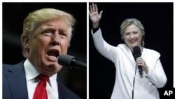 Le candidat républicain Donald Trump parle lors d'un rassemblement à Hershey, Pennsylvanie, le 4 novembre 2016 et la candidate Hillary Clinton s'exprime au Mann Center for the Performing Arts à Philadelphie, le 5 novembre 2016
