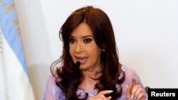 FILE - Argentina's President Cristina Fernandez de Kirchner, Buenos Aires, Jan. 30, 2015.