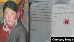 Dolma Tso, one of three Tibetans sentenced on murder charges in China's Sichuan province in connection with the December 3 immolation of Konchok Tseten.