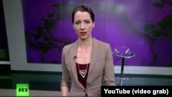 Russia Today host Abby Martin is seen in this screengrab from YouTube during her statement denouncing Russia's incursion into Ukraine.