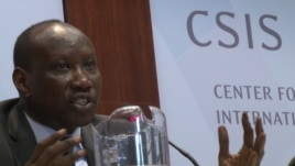 South Sudanese Minister in the Office of the President, Awan Riak, speaking at a panel discussion on the crisis in South Sudan at the Center for Strategic and International Studies (CSIS) in Washington, D.C. on April 9, 2014.