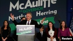 贏得維吉尼亞州長選舉的麥考利夫星期二夜晚發表勝選演說。