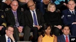 La Première dame des Etats-Unis, Michelle Obama, dans les tribunes réservées au public.