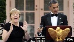 Kanselir Jerman Angela Merkel dan Presiden Barack Obama di Gedung Putih (7/6).