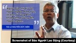 TS Nguyễn Đức Kiên được bổ nhiệm làm người dẫn đầu nhóm tư vấn kinh tế của Thủ tướng Nguyễn Xuân Phúc. (Ảnh chụp màn hình Báo Người Lao Động)