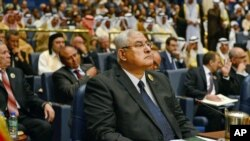 Interim President of Egypt Adly Mansour, during the opening session of the Arab League Summit in Bayan Palace, Kuwait City, March 25, 2014.