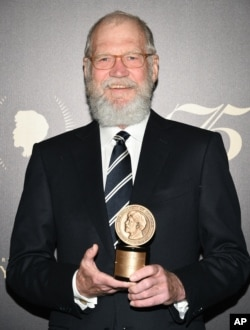 David Letterman accepting an award in May.