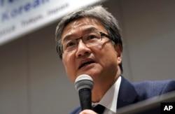미국 국무부의 조셉 윤 대북정책 특별대표가 1일 일본 도쿄에서 열린 동북아 안보 관련 기자회견에서 발언하고 있다.