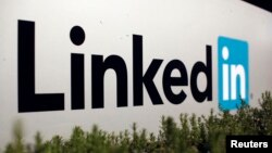 FILE - The logo for LinkedIn Corporation, a social networking networking website for people in professional occupations, is shown in Mountain View, California, Feb. 6, 2013.