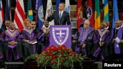 U.S. President Barack Obama speaks in front of the casket of Rev. Clementa Pinckney during funeral services for Pinckney in Charleston, South Carolina June 26, 2015. Pinckney was one of nine victims of a mass shooting at the Emanuel African Methodist Epi