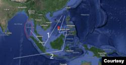 Vị trí của bãi Ba Đầu và cụm Union Bank trên 2 tuyến đường biển đi qua Biển Đông. Tuyến số 1 đi qua eo biển Malacca, có thể bị căn cứ quân sự trên chuỗi đảo Andaman trên Ấn Độ Dương, nằm ở cửa phía tây eo biển, khóa lại. Ảnh Google map, chú thích và minh họa của tác giả.