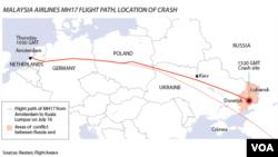 ផែនទីផ្លូវហោះហើរនិងកន្លែងធ្លាក់របស់យន្តហោះ MH17