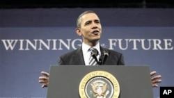 President Barack Obama speaks at Northern Michigan University in Marquette, Michigan, February 10, 2011