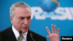 FILE - Brazilian President Michel Temer, in office just three weeks, is already facing divisions within his alliance in Congress, with some lawmakers promising to water down the fiscal reforms.