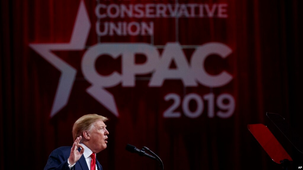President Donald Trump speaks at the Conservative Political Action Conference, CPAC 2019, in Oxon Hill, Md., March 2, 2019.
