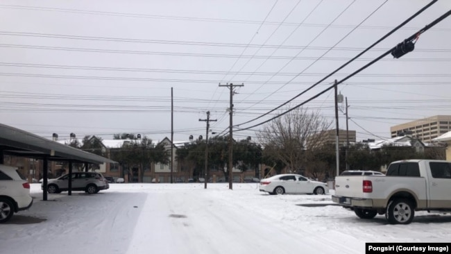 Northeast Dallas, a neighbourhood in Dallas, Texas, after it experienced snow storm
