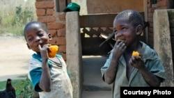 Des enfants mangeant des patates douces enrichies (Photo HarvestPlus)