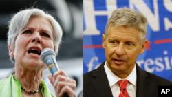 Yashillar partiyasidan prezidentlikka nomzod Jill Stayn (chapda) va Libertarianlar nomzodi Gari Jonson