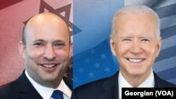 PM Israel Naftali Bennett (kiri) dan Presiden AS Joe Biden.
