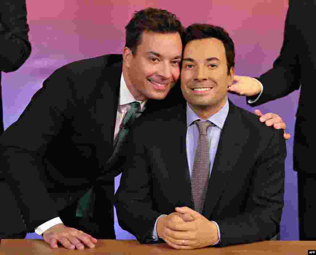 Host of NBC's 'The Tonight Show', Jimmy Fallon (L) at Madame Tussauds Wax Museum in New York.