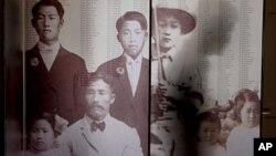 미국 로스앤젤레스시의 한인 이민 100주년 기념관에 설치된 초기 한인 이민자들의 사진. (자료 사진)