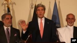 نامزدان ریاست جمهوری افغانستان در حضور جان کری روی تفاهمنامه های سیاسی و تخنیکی توافق نمودند