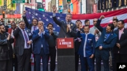 New York City Mayor Bill de Blasio speaks during a rally in support of Muslim Americans and protest of President Donald Trump's immigration policies in Times Square, New York, Sunday, Feb. 19, 2017.