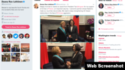 伊丽亚娜•罗斯-雷提南众议员在她的推特上发出的在台北会晤台湾总统蔡英文的图片和文字。