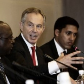 Former British Prime Minister Tony Blair, second from right, during the 4th High-Level Forum on Aid Effectiveness in Busan, South Korea, November 29, 2011.