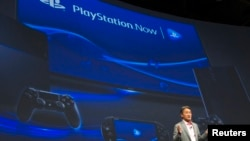 President and CEO of Sony Corporation Kazuo Hirai talks about the Sony Playstation and related services at a Sony news conference during the 2015 International Consumer Electronics Show (CES) in Las Vegas, Nevada, Jan. 5, 2015.