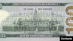 Mẫu của tờ giấy bạc 100 đôla mới (mặt sau)