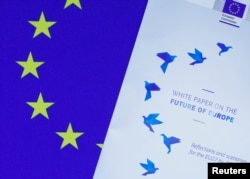 Photo shows the cover page of the White Paper on the Future of Europe, which was presented before the European Parliament in Brussels, Belgium, March 1, 2017.