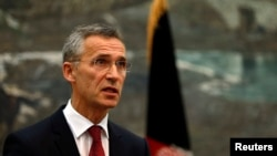 NATO Secretary General Jens Stoltenberg speaks during a news conference in Kabul, Nov. 6, 2014.