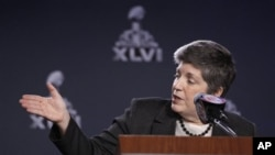 U.S. Secretary of Homeland Security Janet Napolitano talks about security measures for Super Bowl XLVI during a news conference Feb. 1, 2012