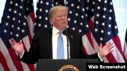 نشست خبری دونالد ترامپ رئیس جمهوری آمریکا در مقر سازمان ملل متحد در نیویورک - ۲۶ سپتامبر ۲۰۱۸