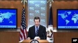 정례브리핑에서 발언하는 마크 토너 국무부 부대변인