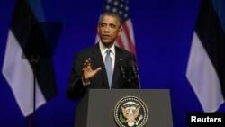 President Barack Obama speaks at the Nordea Concert Hall in Tallinn, Estonia, Sept. 3, 2014.