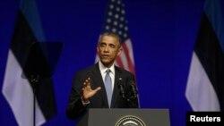 باراک اوباما رئیس جمهوری ایالات متحده آمریکا - تالین، استونی، ۱۲ شهریور ۱۳۹۳