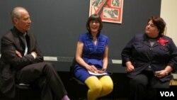 Директор MoMA Глен Лаури, кураторы Джулиет Кинчин и Энн Морра на пресс-конференции