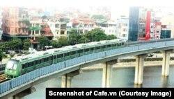 """Tuyến đường sắt Cát Linh-Hà Đông bị xem là """"biểu tượng"""" của việc VN bị TQ gài bẫy nợ. (Ảnh chụp màn hình Cafe.vn)"""